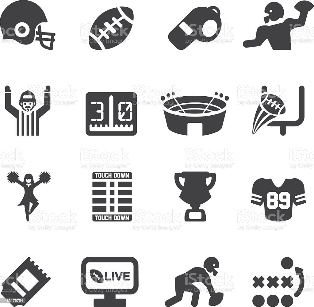 American Football Silhouette icons | EPS10 vector art illustration