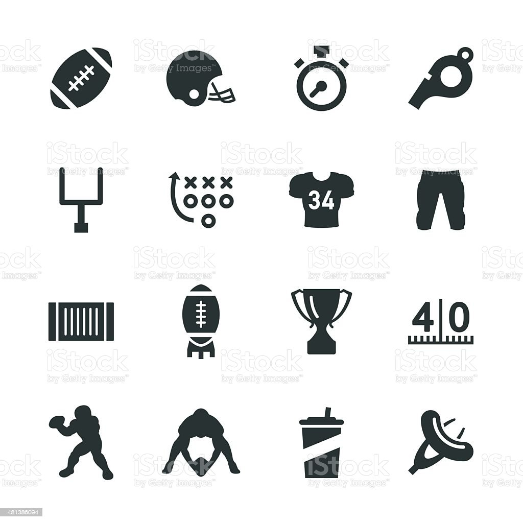 American Football Silhouette Icons vector art illustration