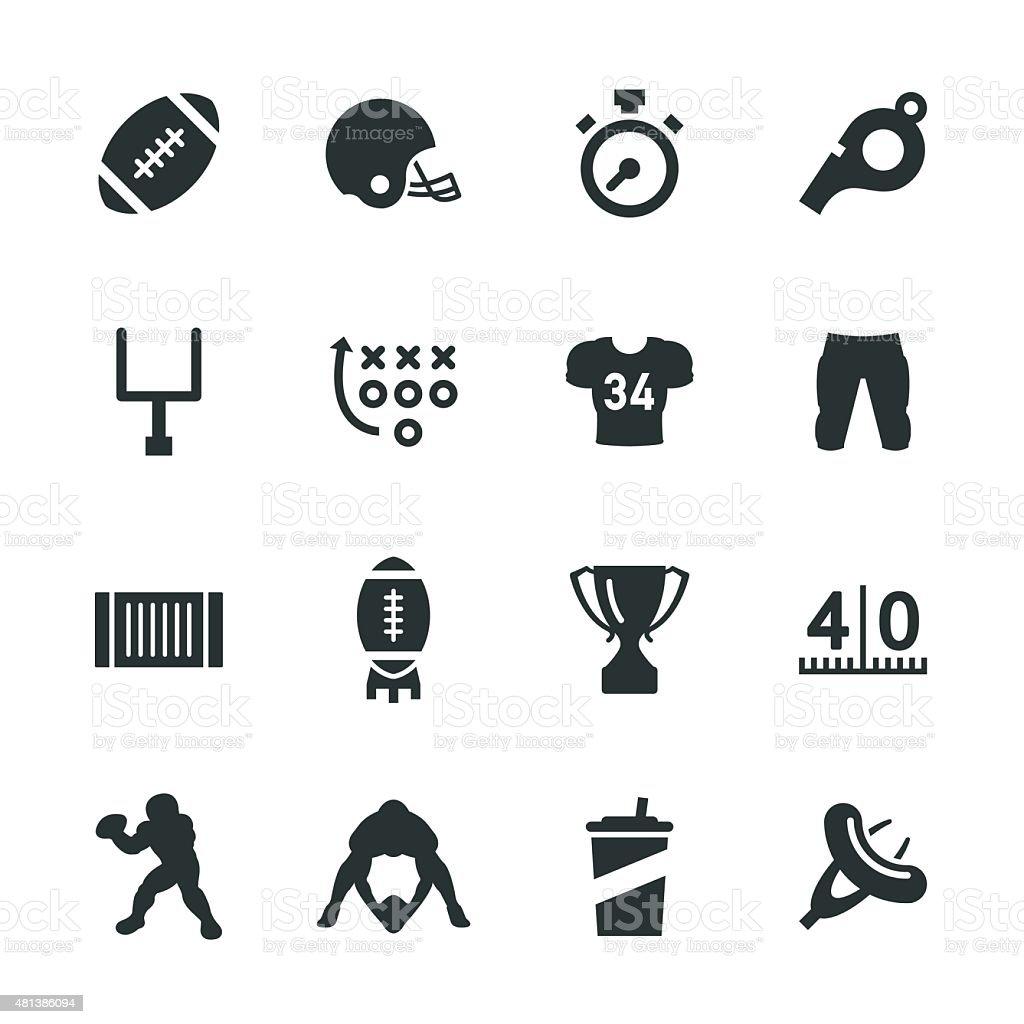 American Football Silhouette Icons vector art illustration