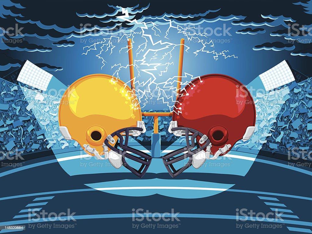 American Football Stadium Helmet Lightning royalty-free stock vector art