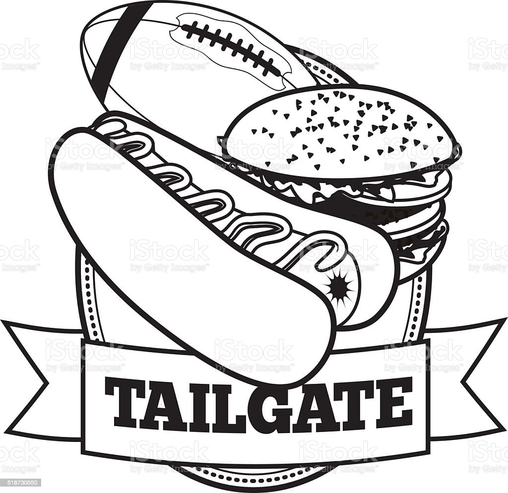 American football tailgate party icon with ribbon. EPS 10 vector. vector art illustration