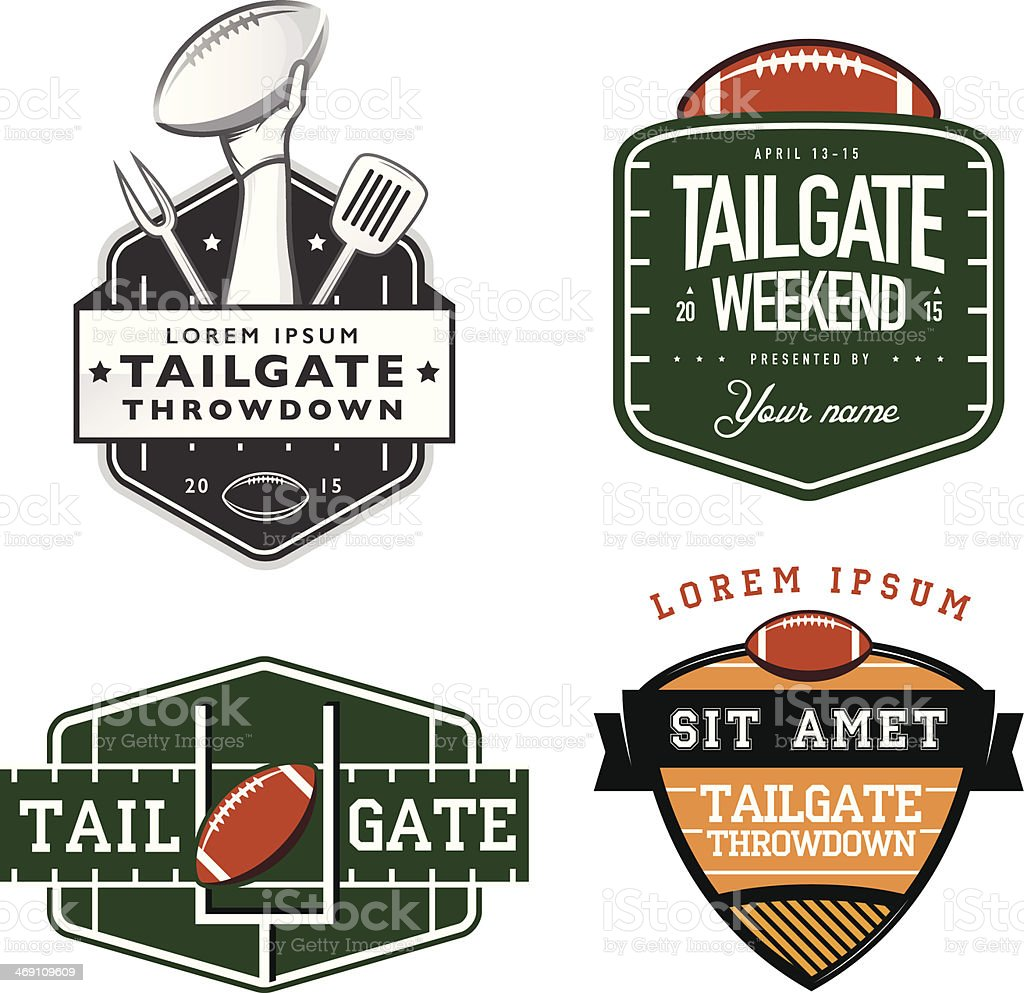 Set of American football tailgate party design elements vector art illustration