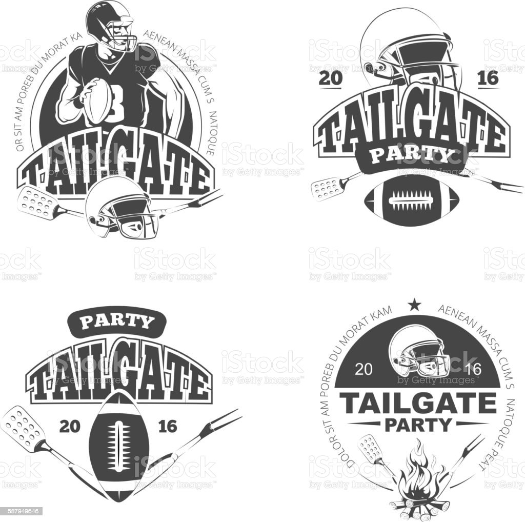 American football tailgate party vintage labels vector set vector art illustration