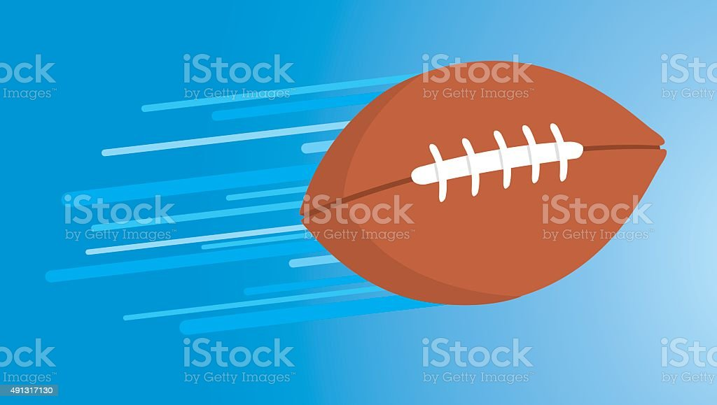 American football thrown and floating fast vector art illustration