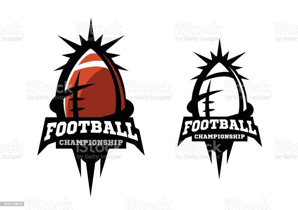 American football. Two options. vector art illustration