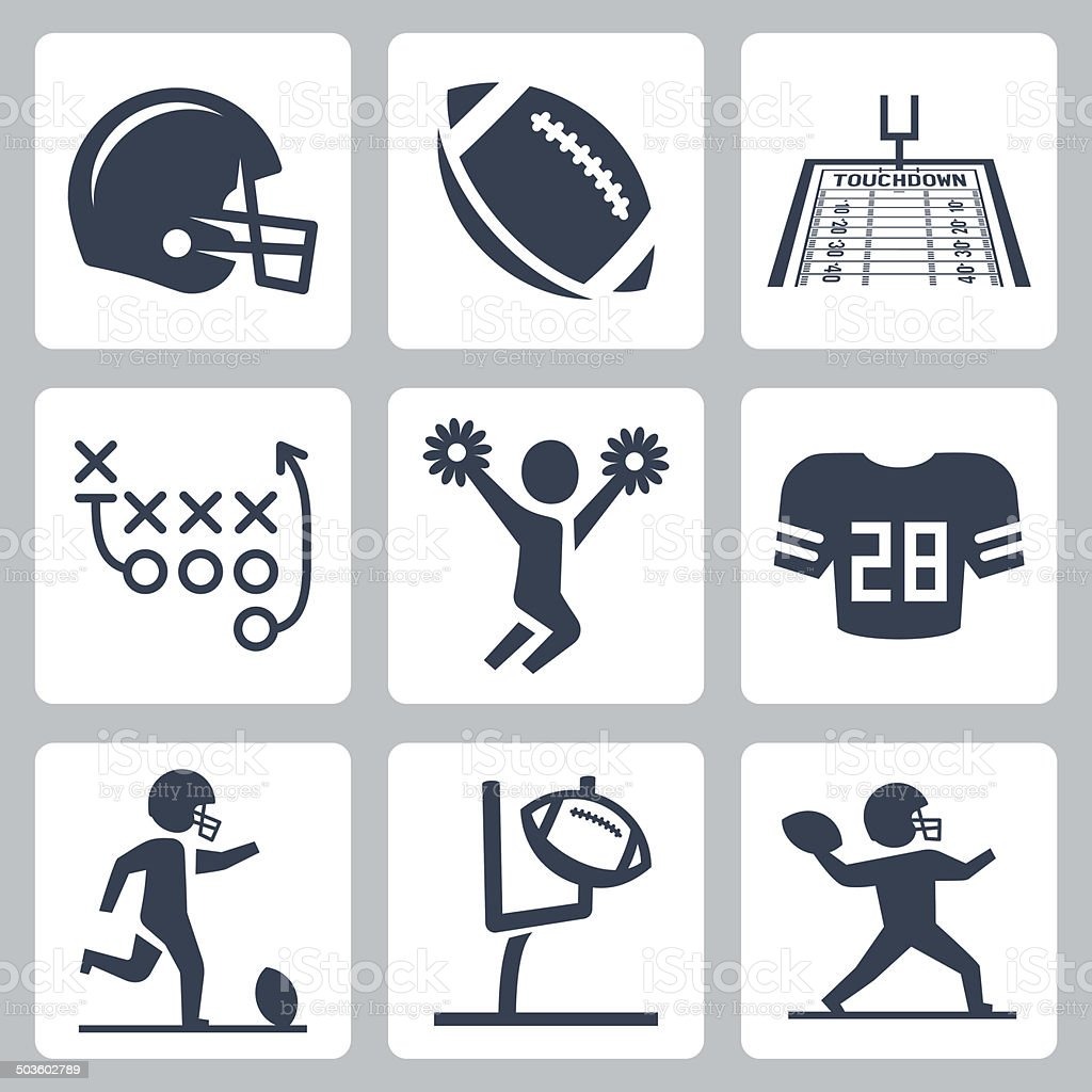 American football vector icons set vector art illustration