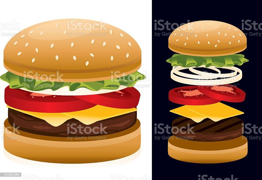 American Hamburger vector art illustration