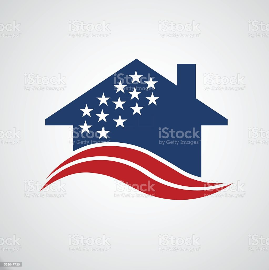 American house stars and stripes vector art illustration
