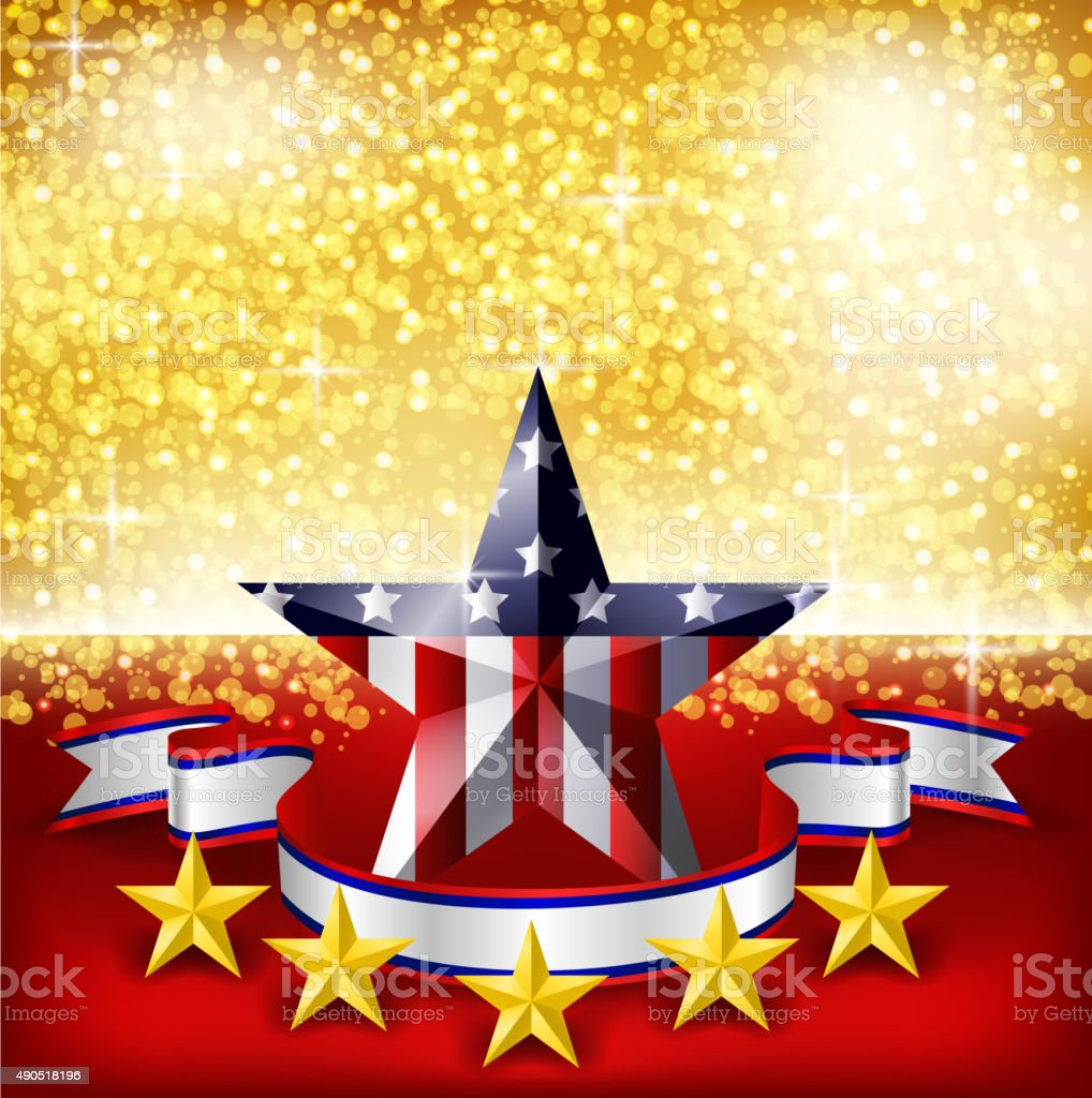 American Independence Day background flag on stage. vector art illustration