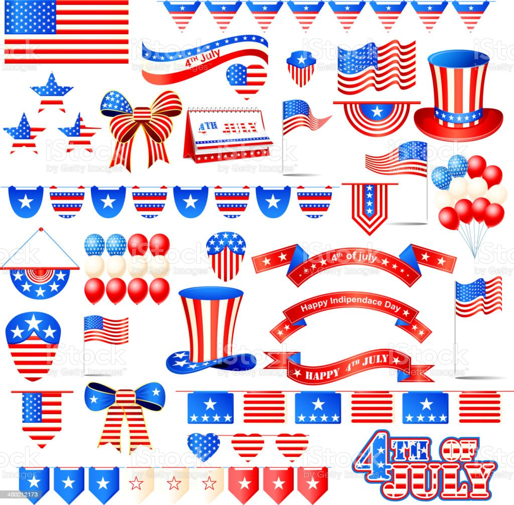 American Independence Day Element vector art illustration