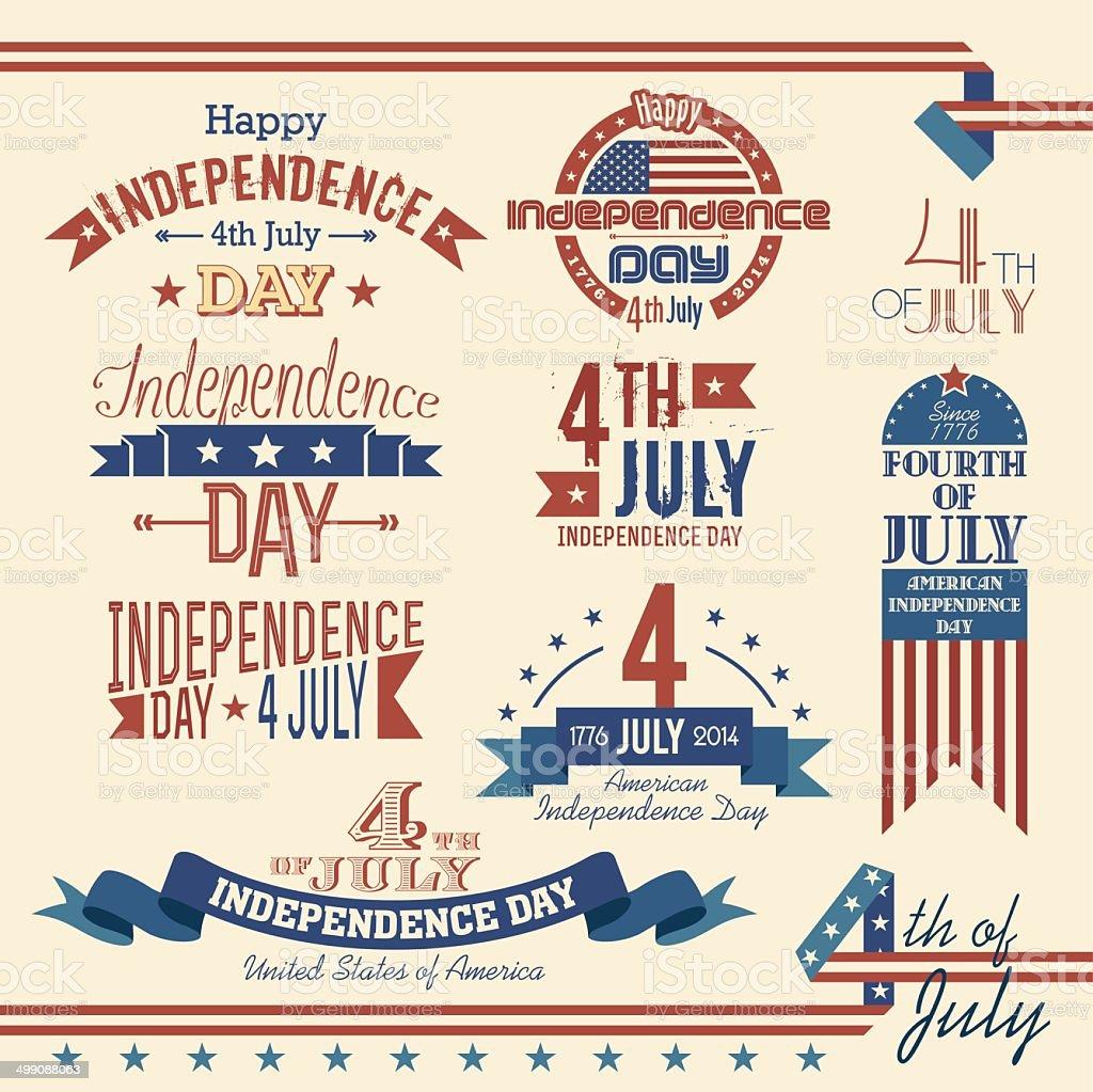 American Independence Day label set vector art illustration
