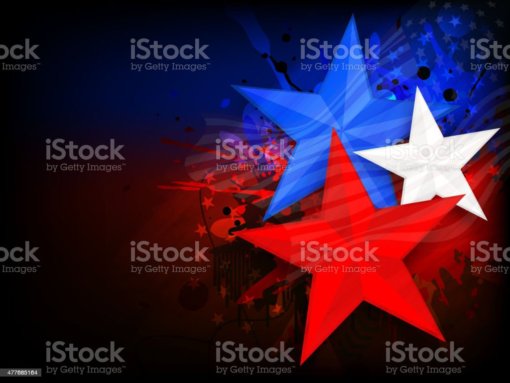 American Independence Day with stylish stars. vector art illustration