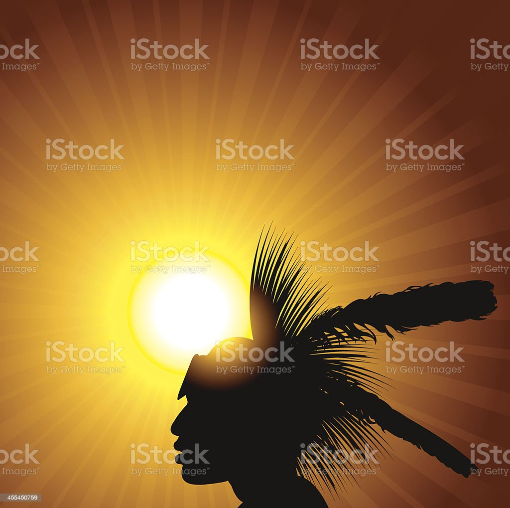 American Indian and Sun Burst vector art illustration