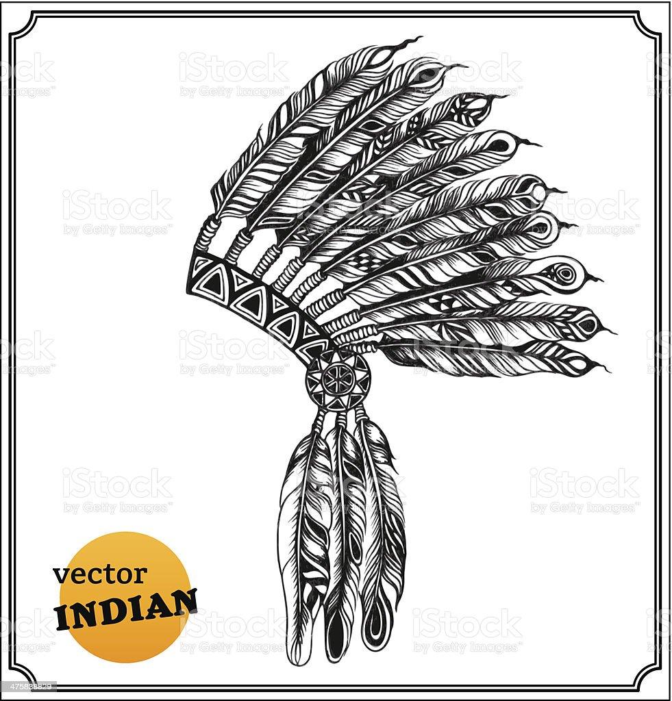 American Indian chief headdress vector art illustration