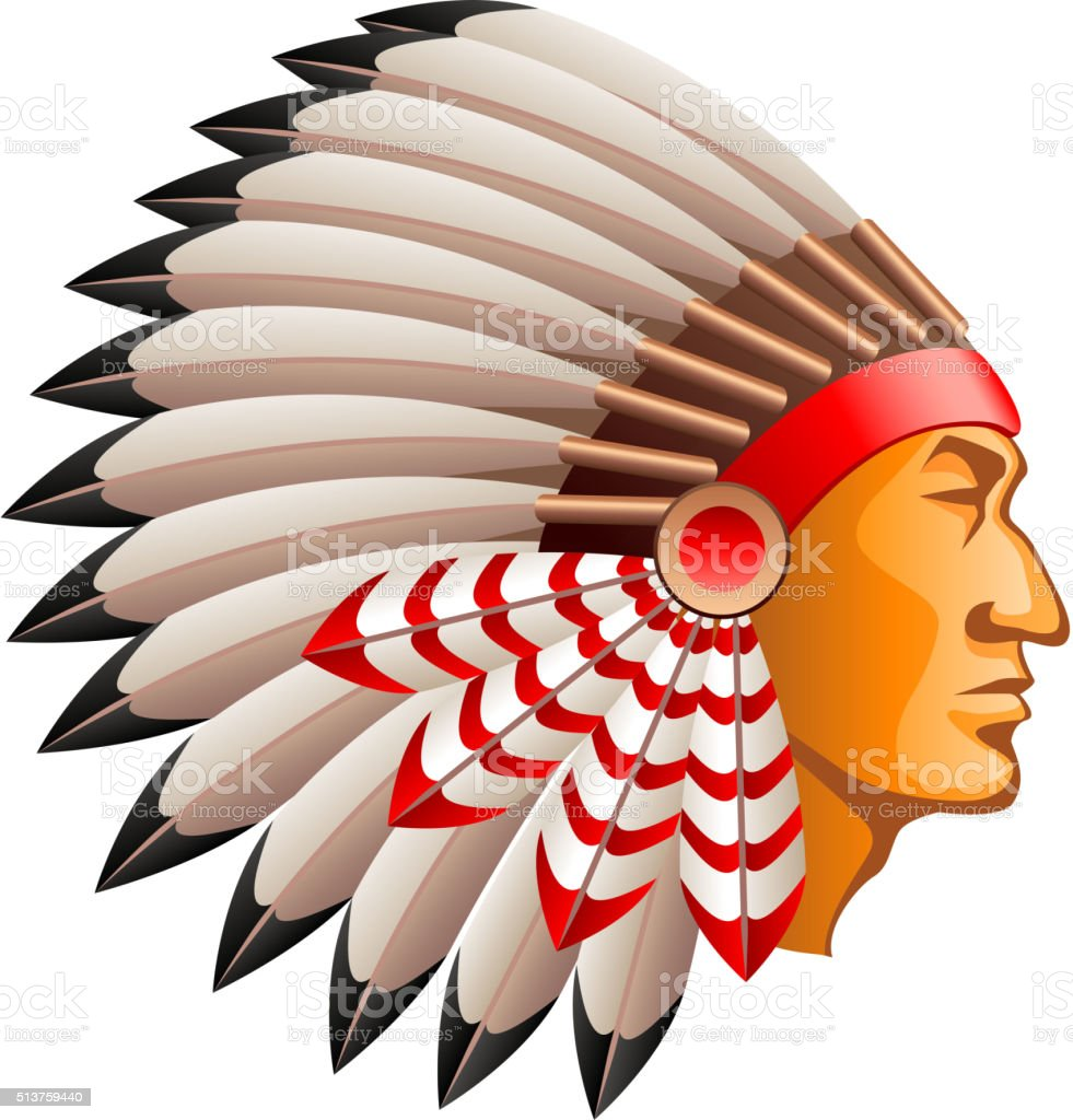 American indian chief isolated on white vector vector art illustration