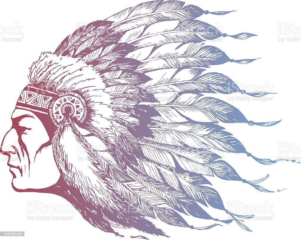 American Indian Chief vector art illustration