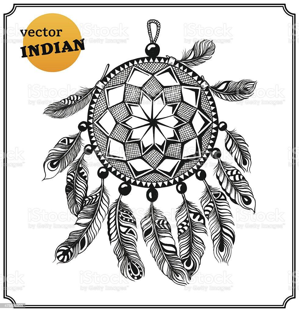 American Indian dreamcatcher of shaman vector art illustration
