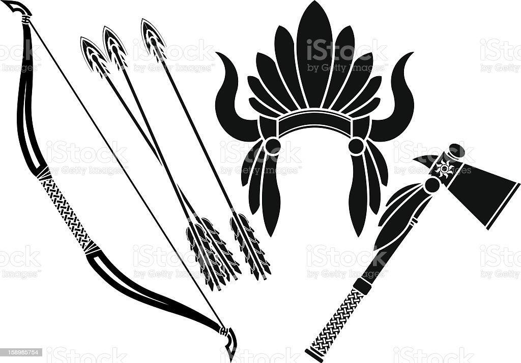 american indian headdress, tomahawk and bow. stencil royalty-free stock vector art