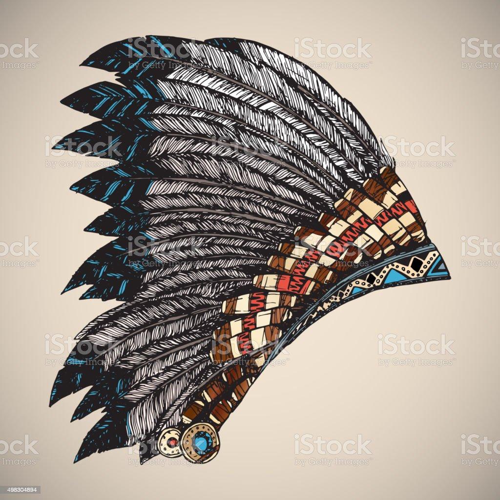 American Indian Headdress. vector art illustration