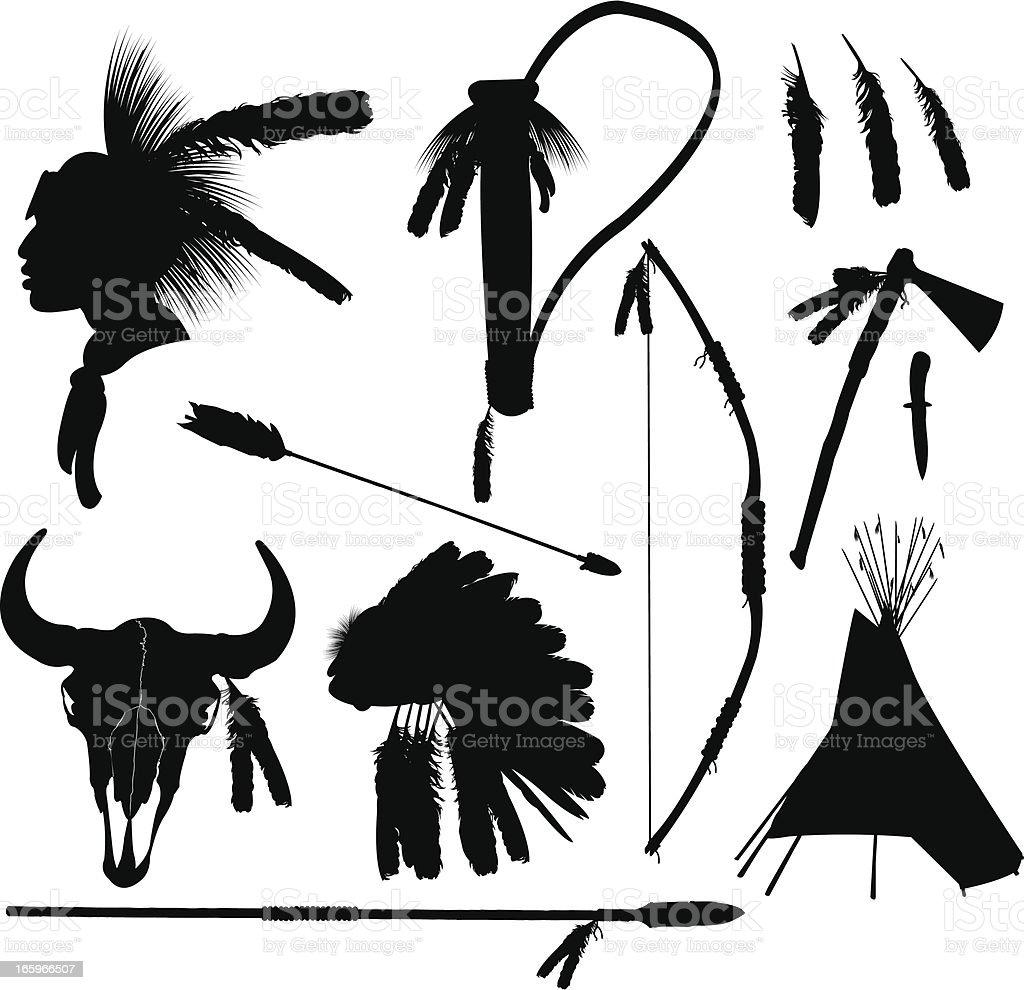 American Indian Hunting Equipment vector art illustration
