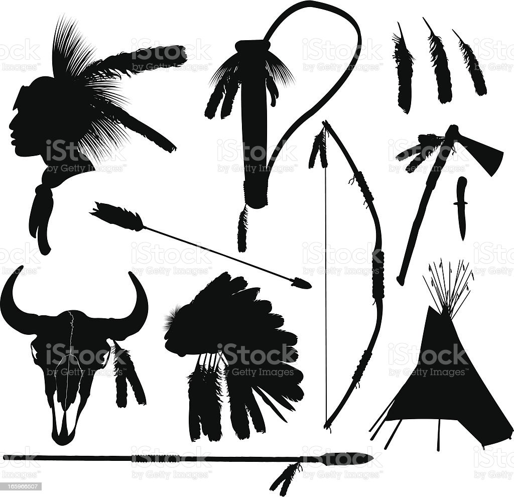 American Indian Hunting Equipment vector art illustration