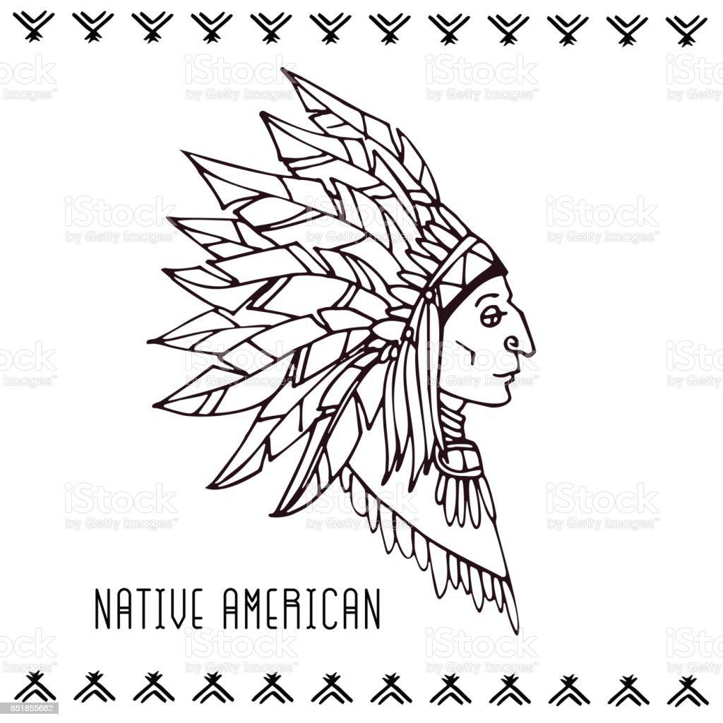 American indian in war bonnets. Linear vector illustration. vector art illustration