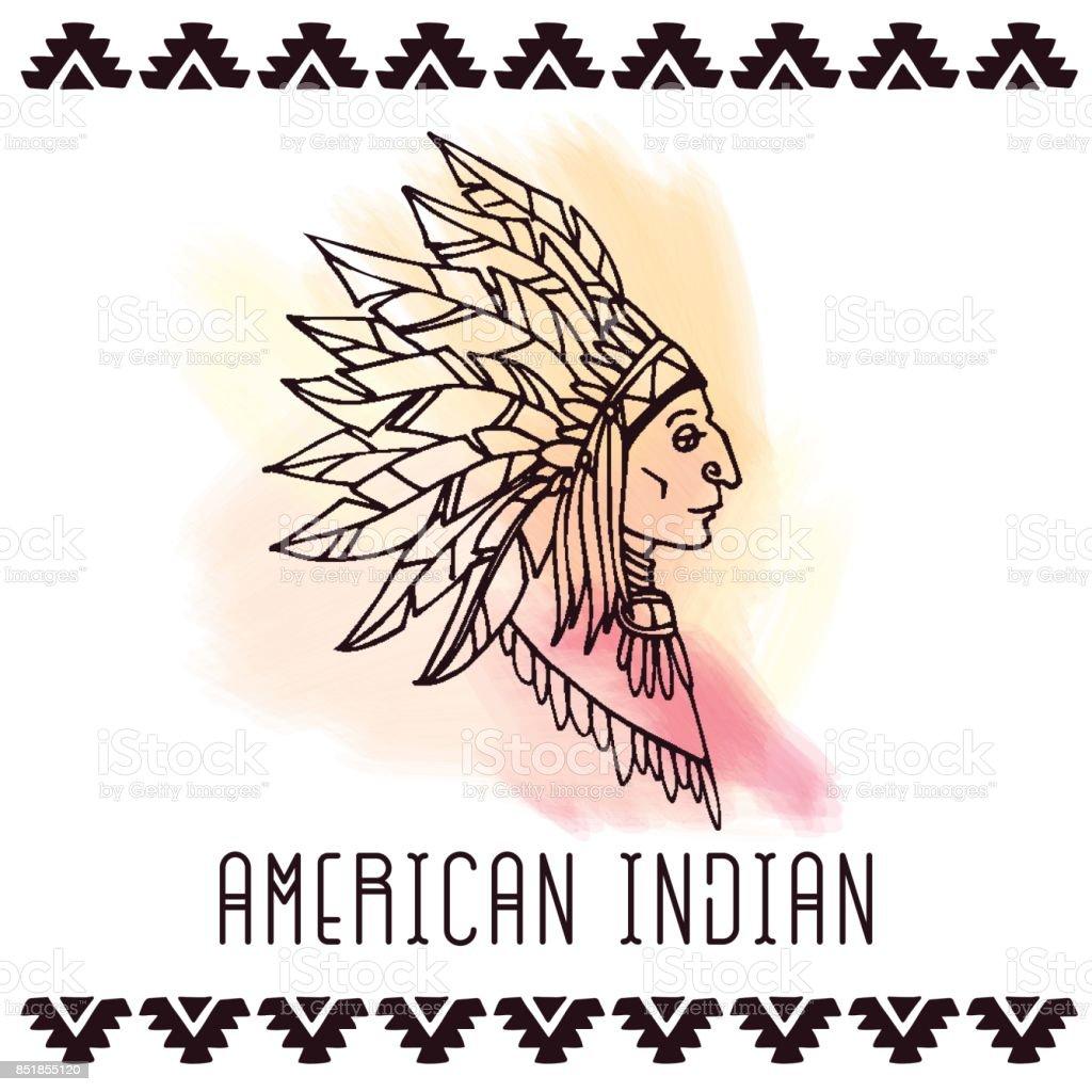 American indian in war bonnets. Vector illustration. vector art illustration
