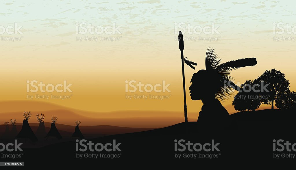 American Indian Teepee Background at Twilight Background vector art illustration