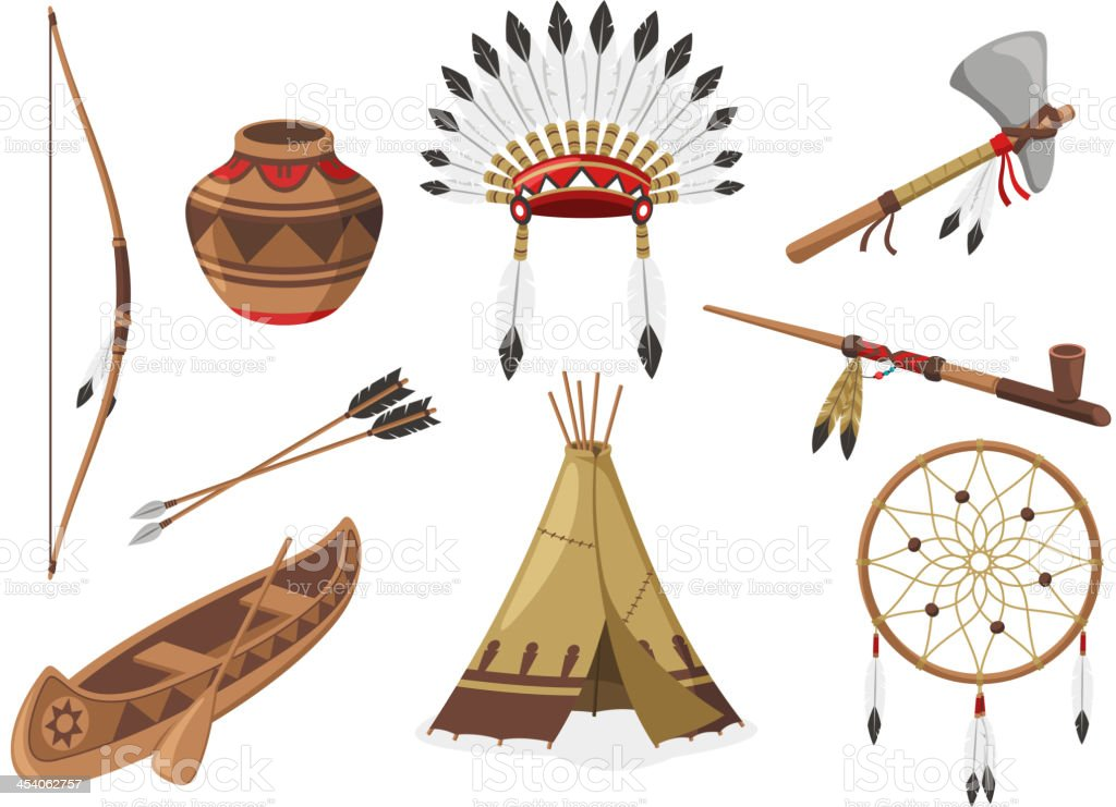 American Indigenous Indian Native Natives Tribal Culture vector art illustration