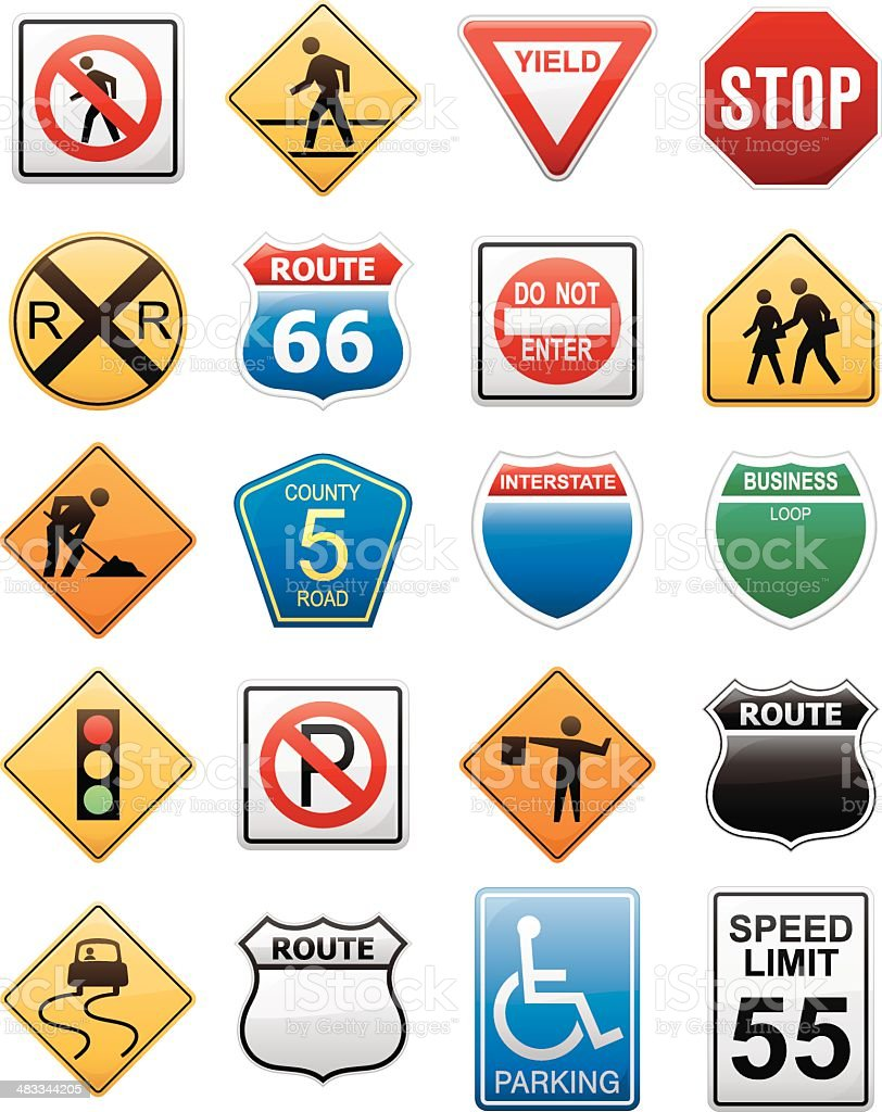 American Interstate Road Sign Vector Illustration Collection royalty-free stock vector art