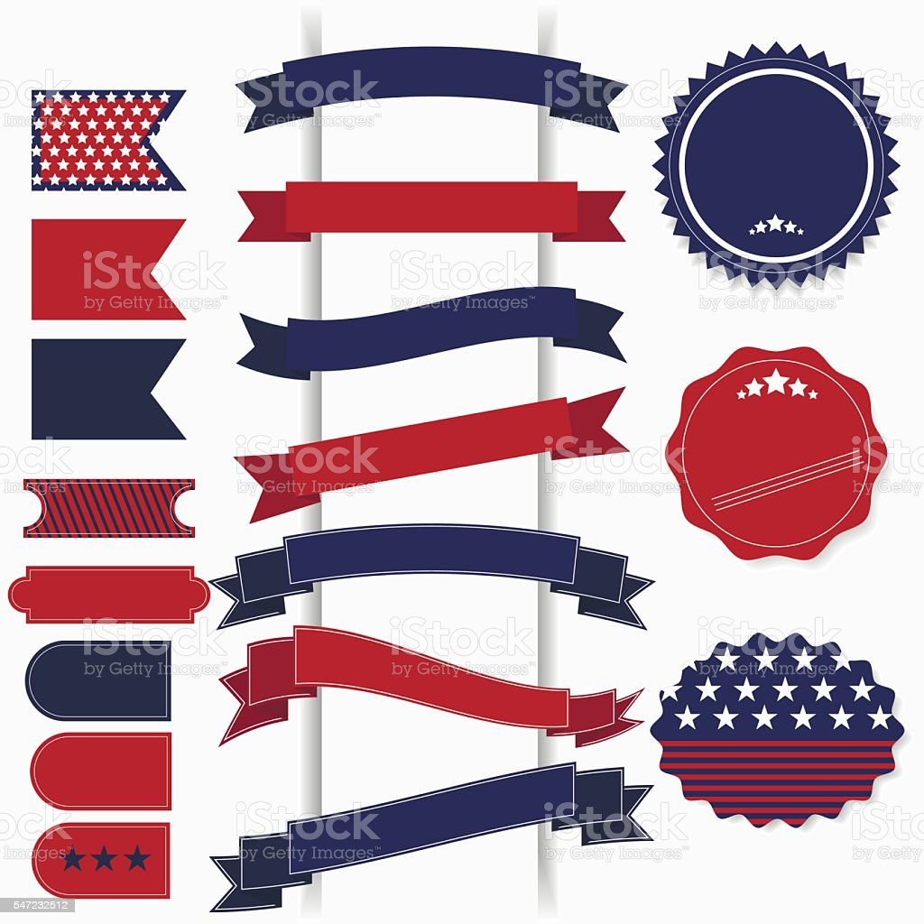 American July 4th Independence Day retro vector elements. vector art illustration