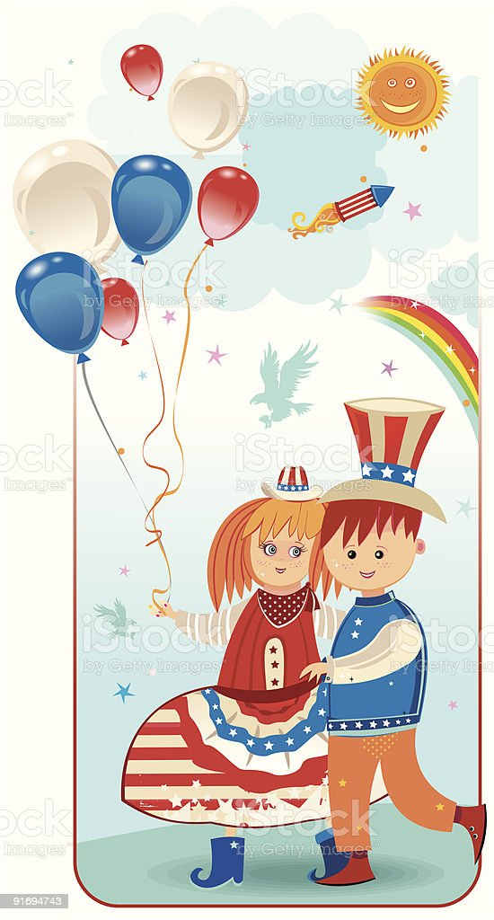 american kids royalty-free stock vector art