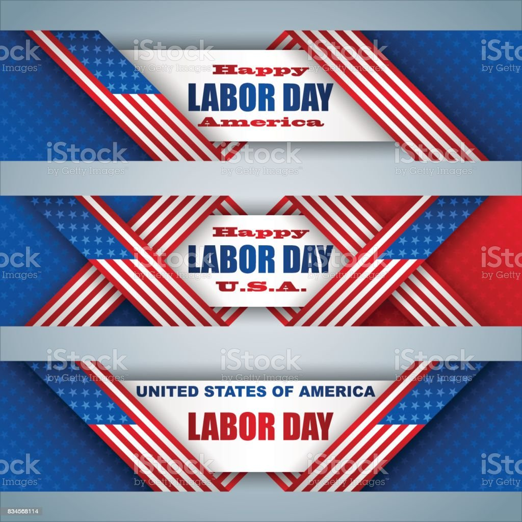 American, Labor day celebration, web banners vector art illustration