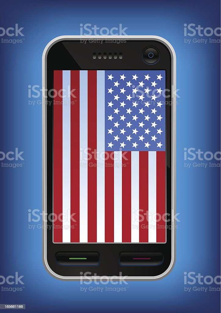 American made touch screen phone vector art illustration