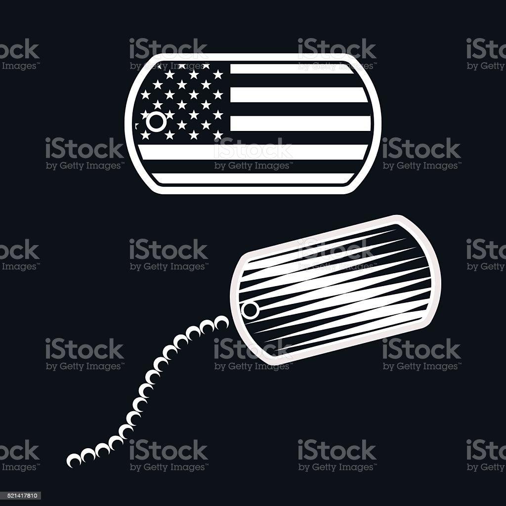 American Military Dog Tag Illustration - VECTOR vector art illustration