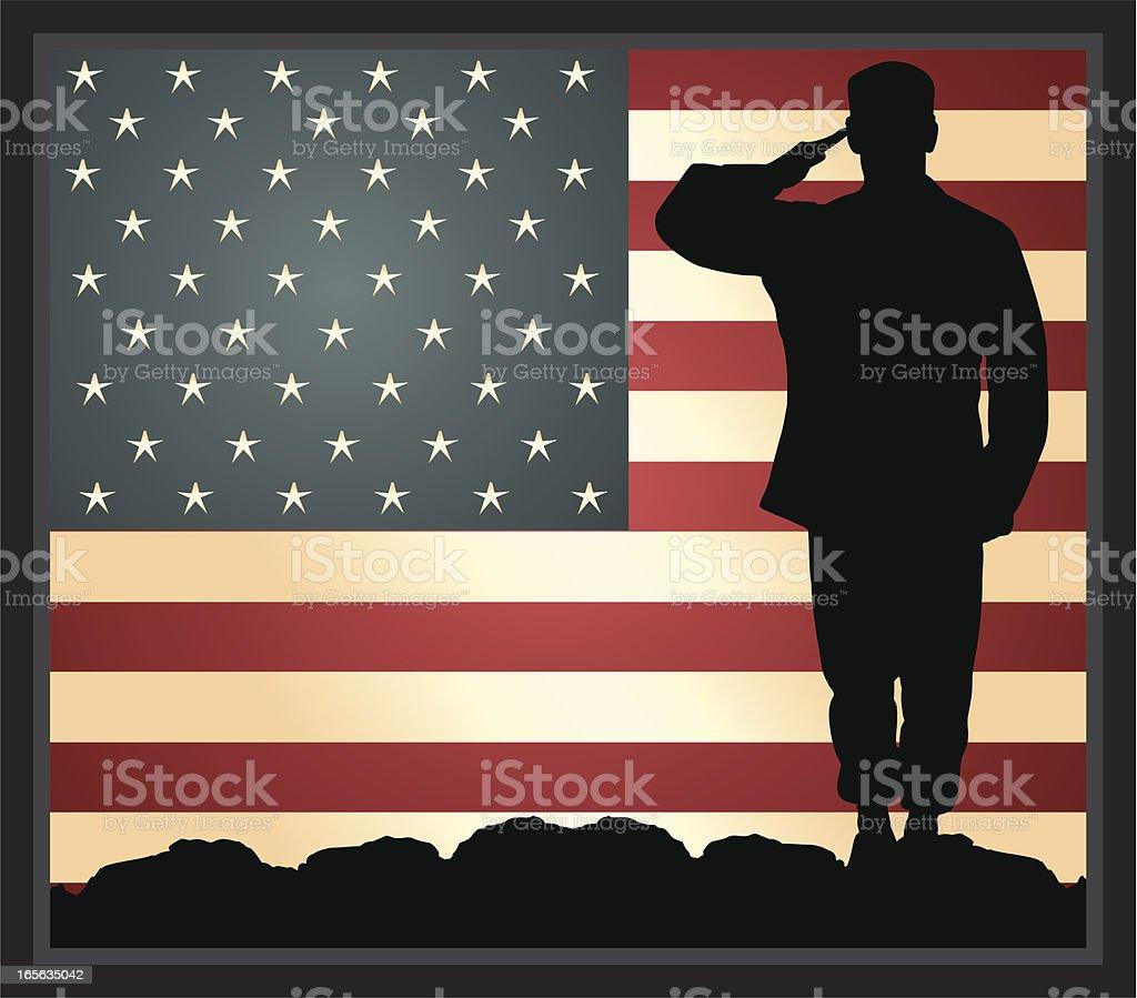 American Military Hero vector art illustration
