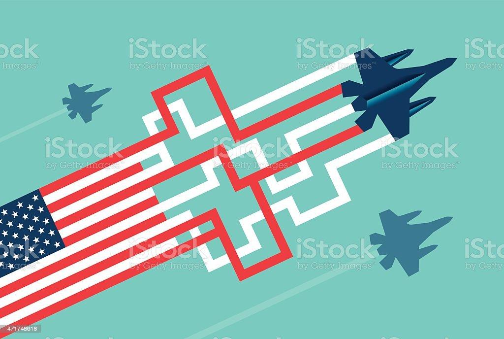 American Military Jet vector art illustration