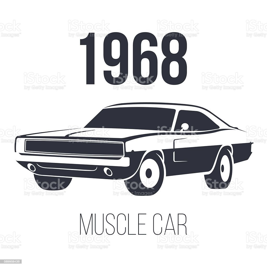 American Muscle Car 1968 vector art illustration