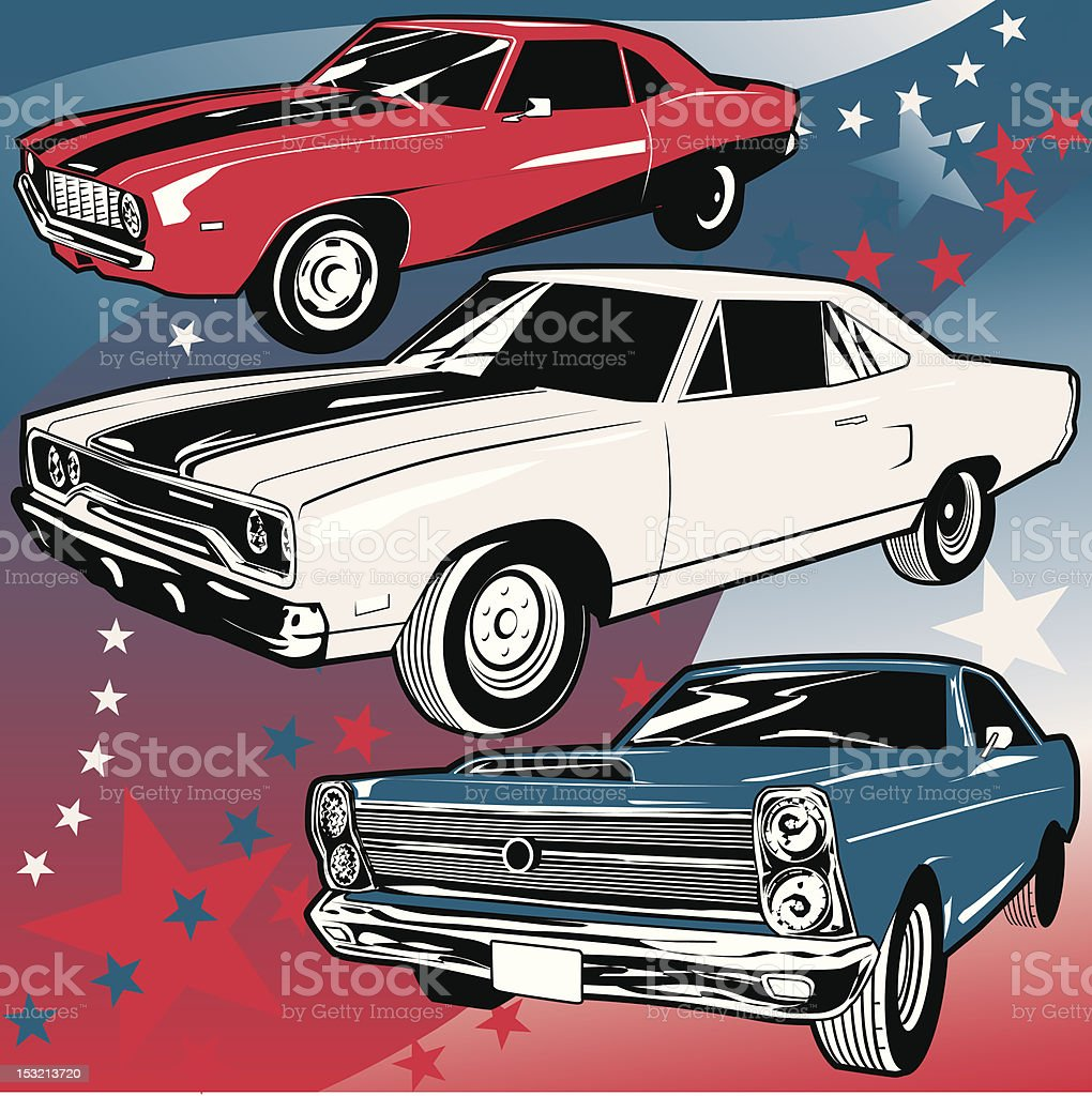 American Muscle Cars vector art illustration