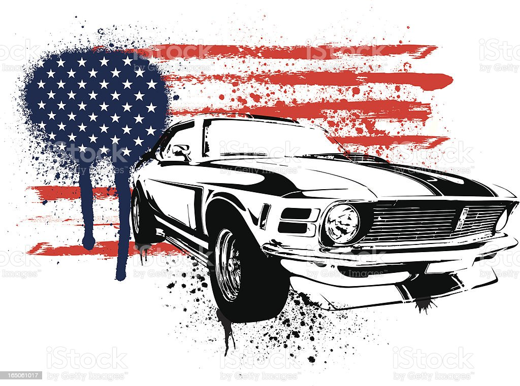 American muscle stencil vector art illustration