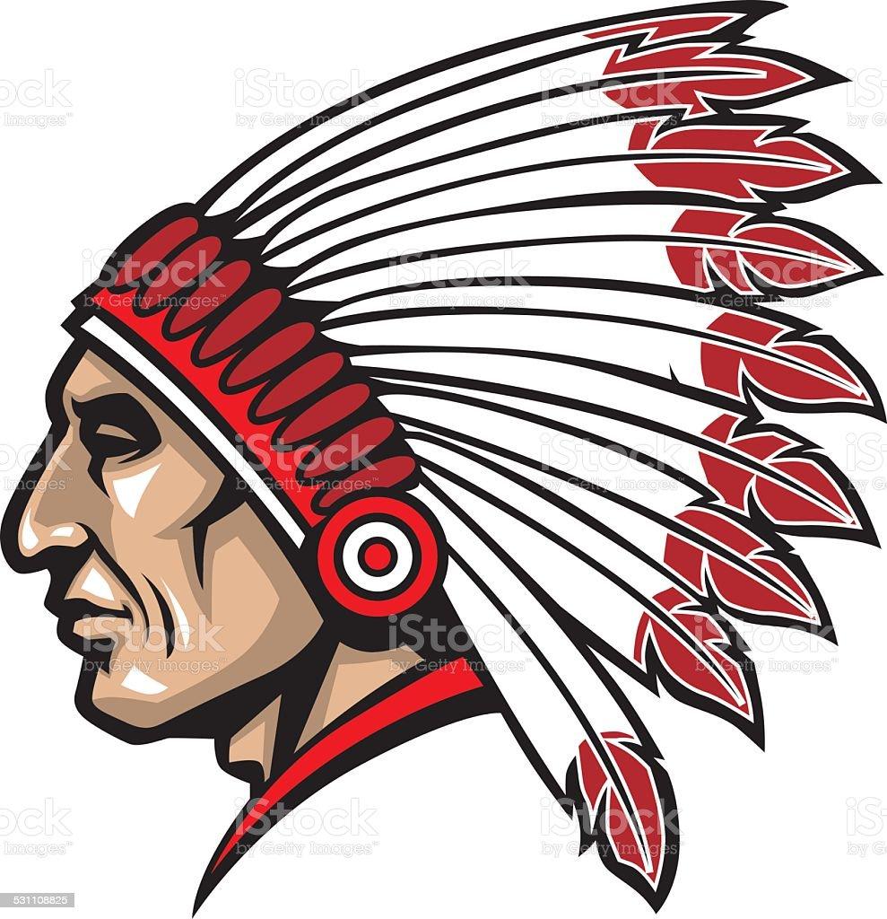 american native chief head vector art illustration