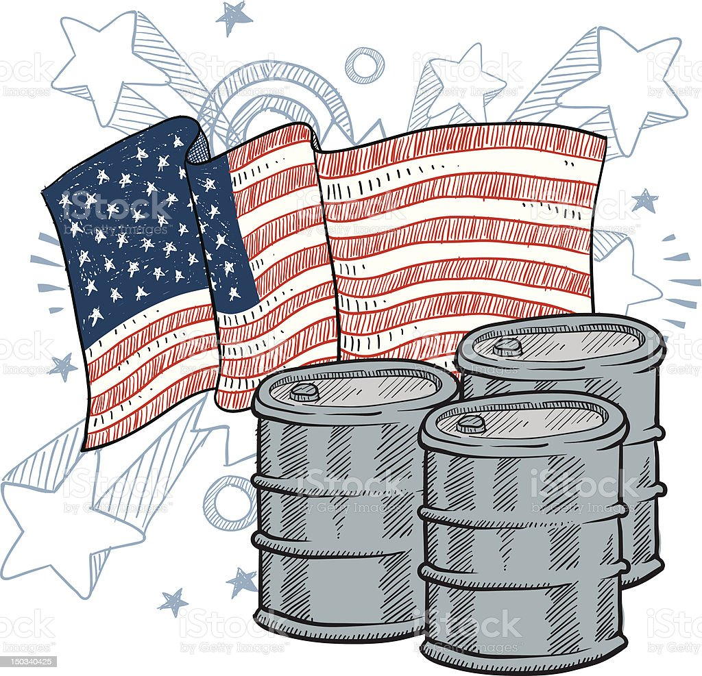 American oil dependency and consumption vector vector art illustration