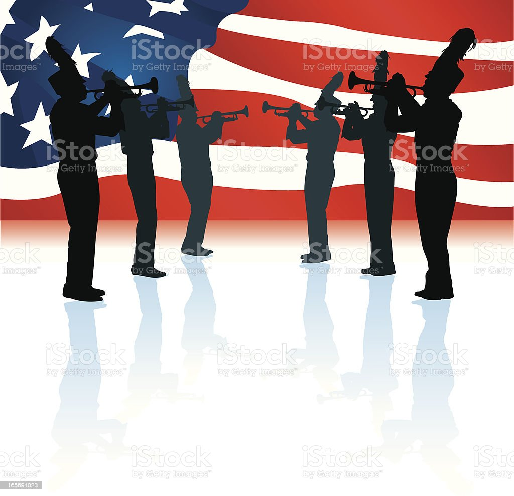 American Parade Marching Band with Flag royalty-free stock vector art