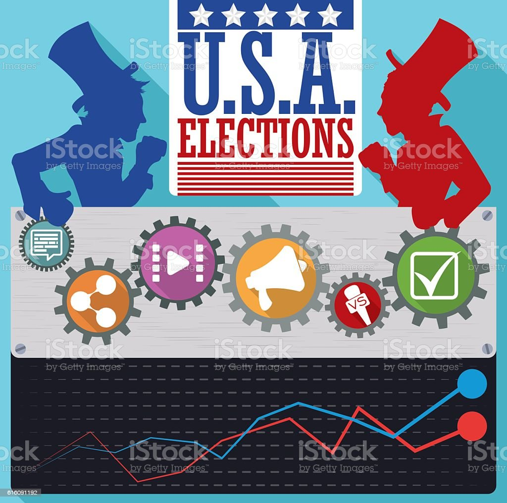 American Parties Candidates' Poll with Icons of the Political Campaign vector art illustration