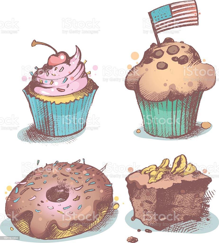 American pastries royalty-free stock vector art