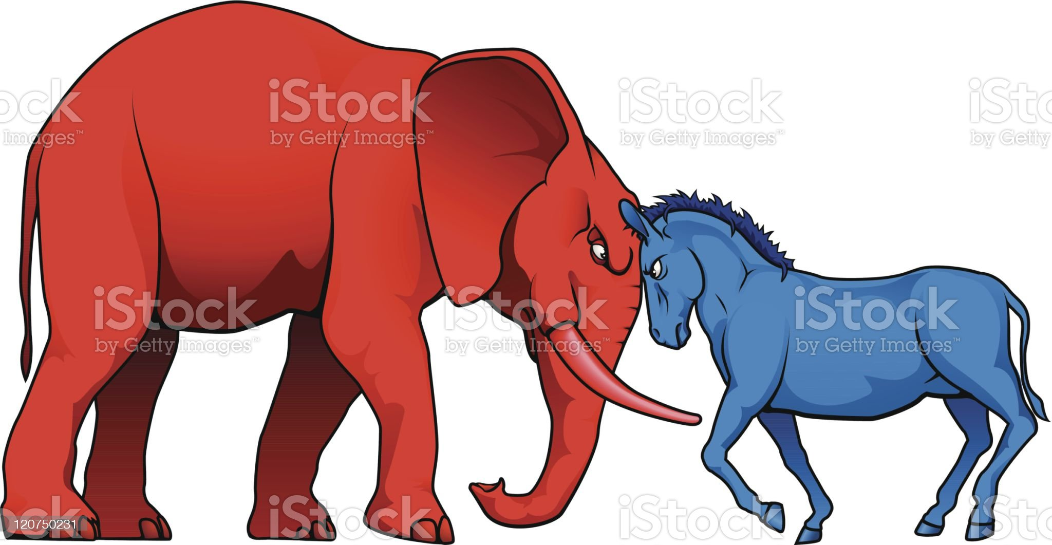 American political parties stand-off royalty-free stock vector art