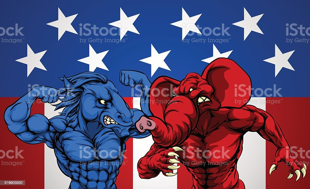 American Politics Elephant Donkey Fight vector art illustration