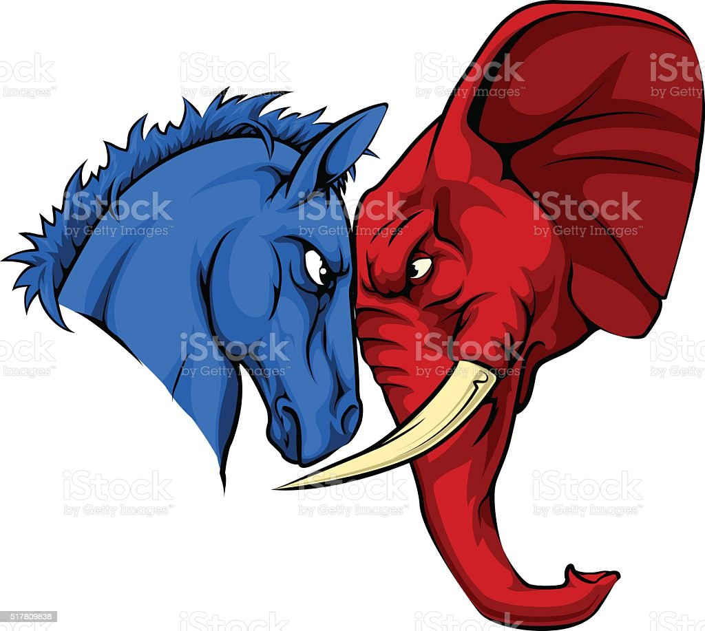 American Politics Republican Versus Democrat vector art illustration