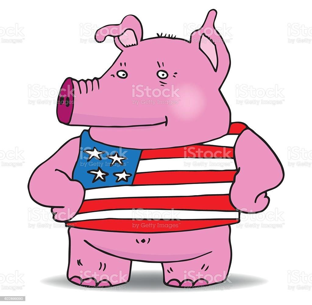 American pork vector art illustration