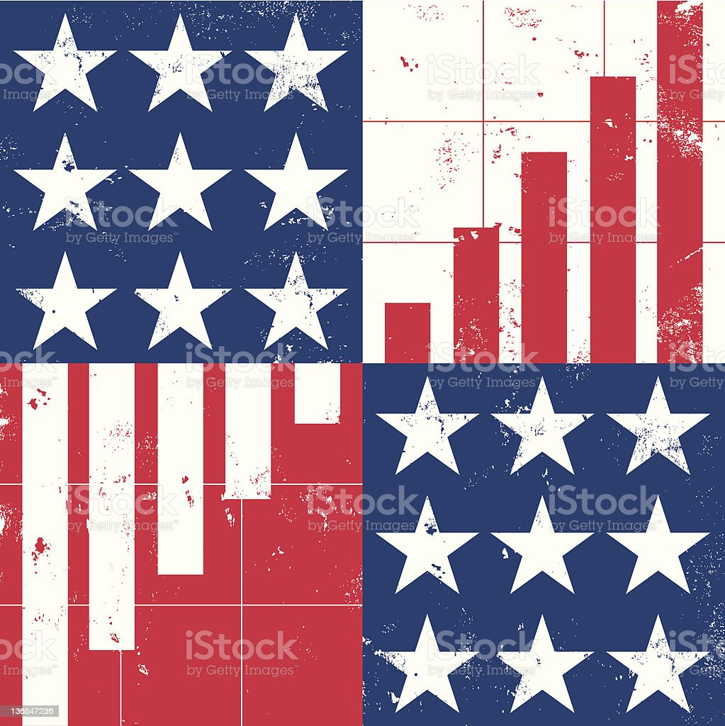 American recession and recovery vector art illustration